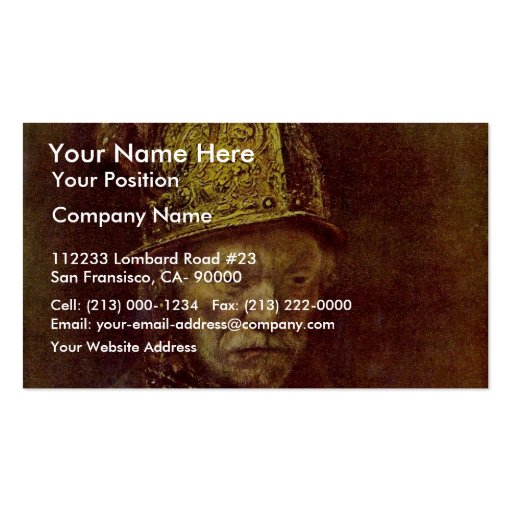 The Man With The Golden Helmet. Business Card Templates