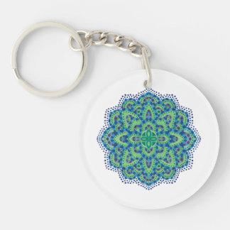 The Mandala-Cool Emerald Double-Sided Round Acrylic Key Ring