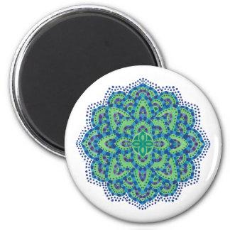 The Mandala-Cool Emerald 6 Cm Round Magnet