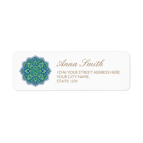 The Mandala-Cool Emerald Return Address Label