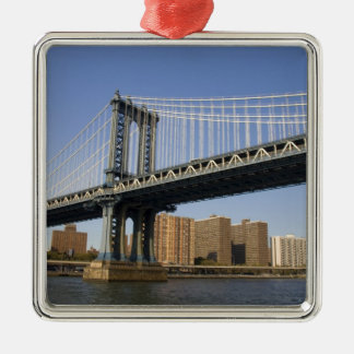 The Manhattan Bridge spanning the East River 2 Silver-Colored Square Decoration