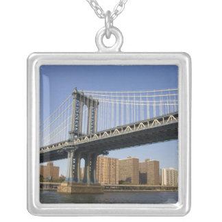 The Manhattan Bridge spanning the East River 2 Square Pendant Necklace