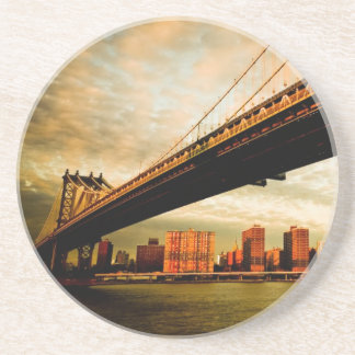 The Manhattan bridge view from Brooklyn side (NYC) Drink Coasters