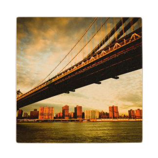 The Manhattan bridge view from Brooklyn side (NYC) Maple Wood Coaster