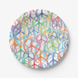 The Many Colors of Peace Signs Paper Plate