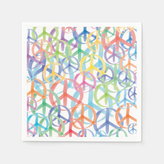 The Many Colors of Peace Signs Paper Serviettes