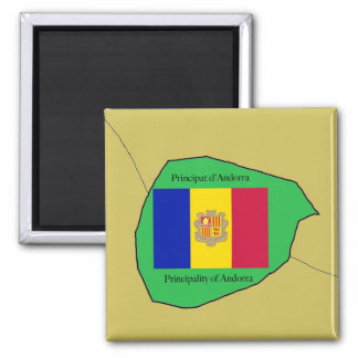 The Map and Flag of Andorra Square Magnet