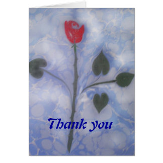 The marbling of art red rose thank you card