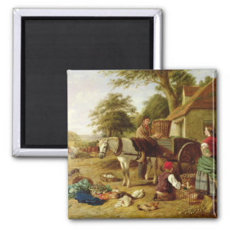 The Market Cart, 1864 (oil on canvas) Refrigerator Magnets