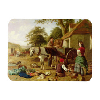 The Market Cart, 1864 (oil on canvas) Rectangular Photo Magnet