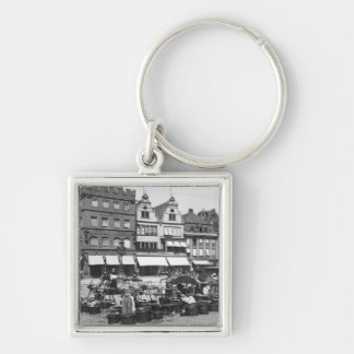 The Market Place at Trier, c.1910 Silver-Colored Square Key Ring