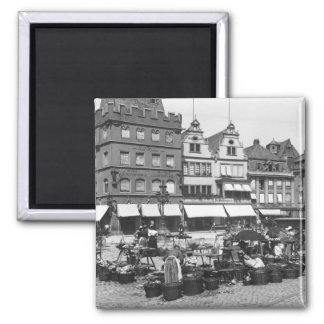 The Market Place at Trier, c.1910 Square Magnet