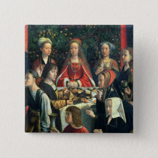 The Marriage at Cana, detail of the bride and surr 15 Cm Square Badge