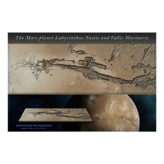 The Mars planet Valles Marineris shaded relief Poster