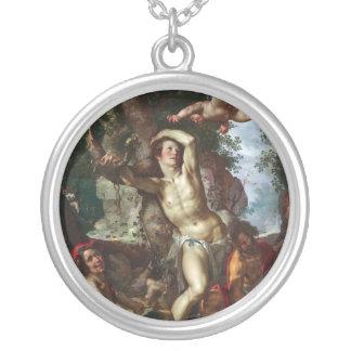 The Martyrdom of Saint Sebastian Joachim Wtewael Round Pendant Necklace