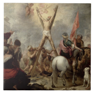 The Martyrdom of St. Andrew, 1675-82 (oil on canva Large Square Tile