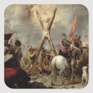 The Martyrdom of St. Andrew, 1675-82 (oil on canva Square Sticker
