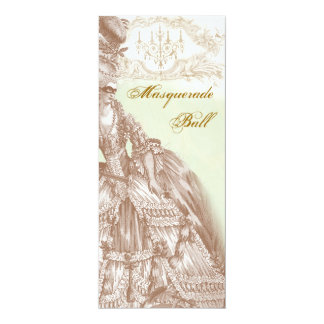 The Masquerade Ball,  Menu teal and gold 10 Cm X 24 Cm Invitation Card