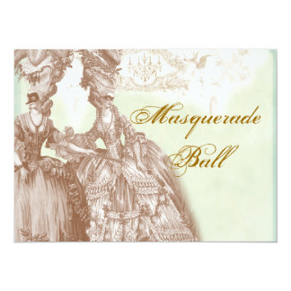 The Masquerade Ball, teal and gold 14 Cm X 19 Cm Invitation Card