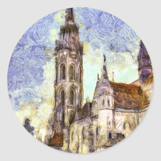 The Mathias Church Budapest Art Classic Round Sticker