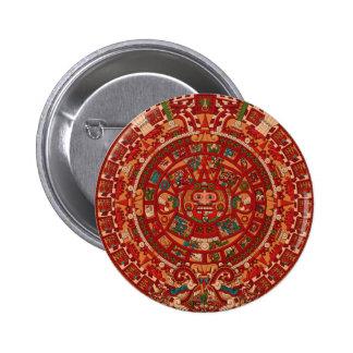 The Mayan Aztec calendar wheel Pinback Buttons