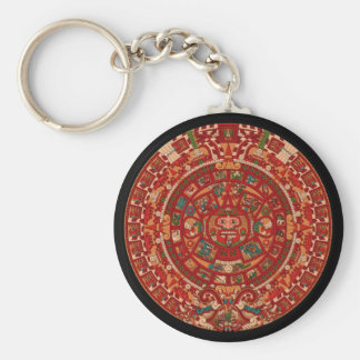 The Mayan / (Aztec) calendar wheel Basic Round Button Key Ring