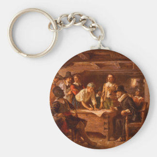The Mayflower Compact by Jean Leon Gerome Ferris Basic Round Button Key Ring