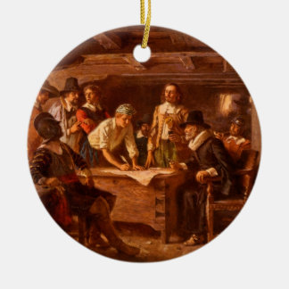 The Mayflower Compact by Jean Leon Gerome Ferris Round Ceramic Decoration