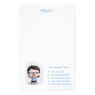 "The Meaning of ""Hello"" Personalized Stationery"