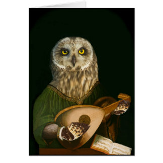 The Mediaeval Owl Plays His Lute Card