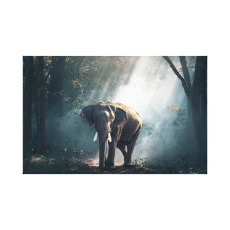 The Meeting Asian Elephant Painting Canvas Print