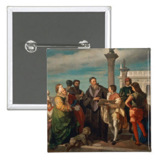 The Meeting Between Titian (1488-1576) and Verones 15 Cm Square Badge