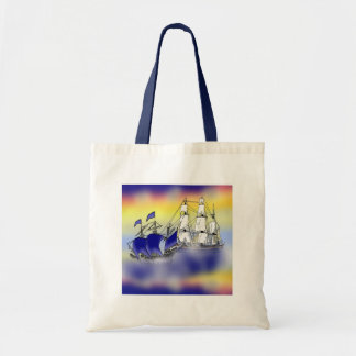 The Meeting of Two Tall Ships Budget Tote Bag