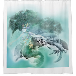 The Mermaid & Her Friends Shower Curtain