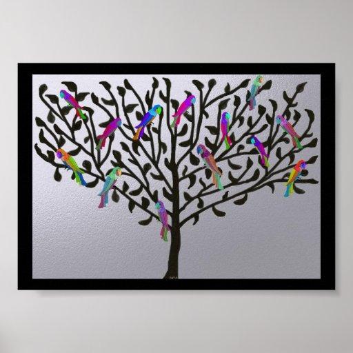 The Metallic Parrot Tree Print