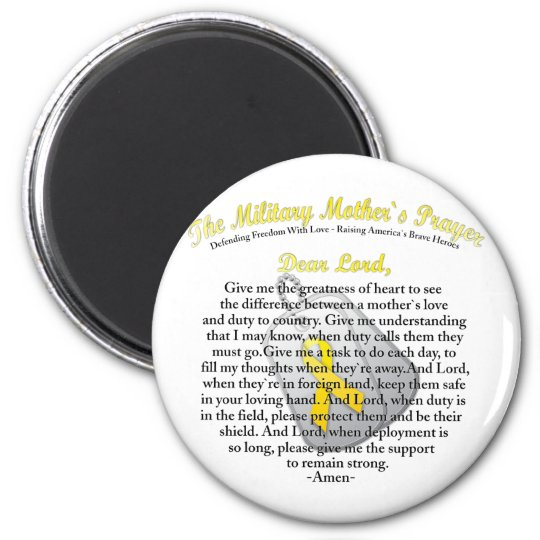The Military Mother`s Prayer 6 Cm Round Magnet