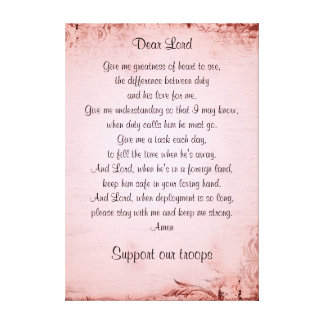 The military wife's prayer canvas prints