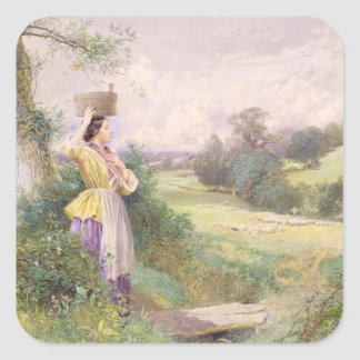 The Milkmaid, 1860 (w/c on paper) Square Sticker