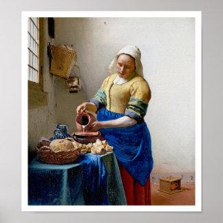 The Milkmaid by Jan Vermeer - Vintage Art Poster