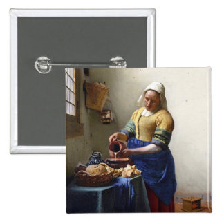 The Milkmaid, c.1658-60 (oil on canvas) 15 Cm Square Badge