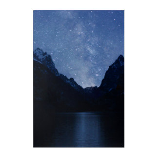 The Milky Way Shines over Jenny Lake Acrylic Wall Art
