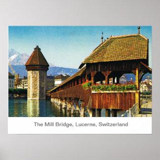 The Mill Bridge, Lucerne, Switzerland Poster