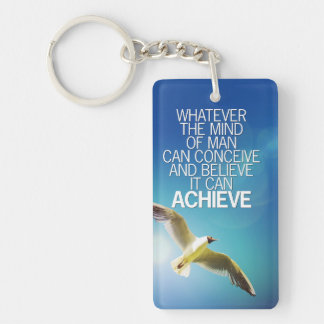 The Mind Can Achieve Seagull Motivational Quote Key Ring