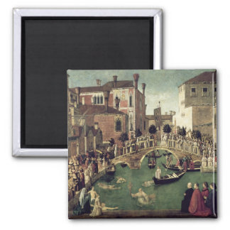 The Miracle of the Cross on San Lorenzo Bridge Square Magnet