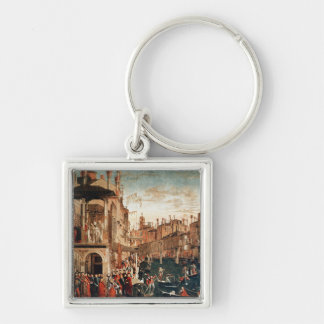 The Miracle of the Relic of the True Cross Silver-Colored Square Key Ring