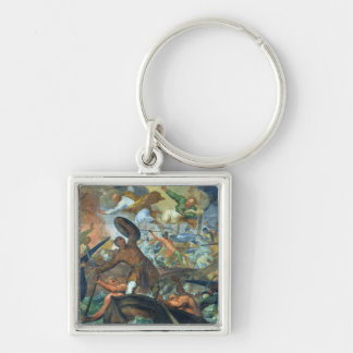 The Miraculous Intervention of SS Peter and Paul i Silver-Colored Square Key Ring