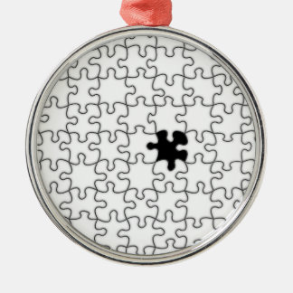 The Missing Puzzle Piece Background Template Silver-Colored Round Decoration