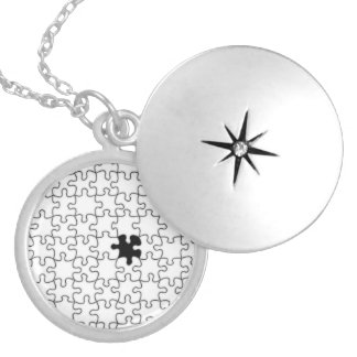 The Missing Puzzle Piece Background Template Silver Plated Necklace