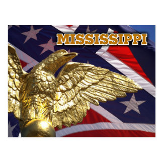 The Mississippi State flag and golden eagle Postcard