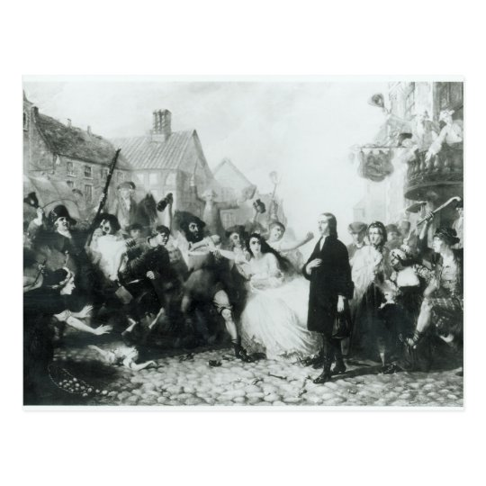 The Mobbing of John Wesley  at Wednesbury Postcard